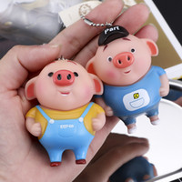Wholesale clothing keychains resale online - Cartoon cute Zhu Bajie key chain enamel dolls clothes mobile phone pendants car pendants