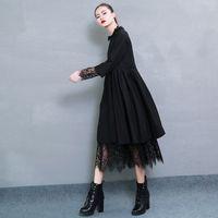 neue art hemdfarbe großhandel-2019 frühjahr neue mode einfarbig verteilung spitzensaum langarm-shirt typ schwarz dress frau