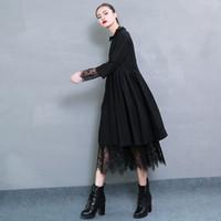 Wholesale chiffon color types resale online - 2019 Spring New Fashion Solid Color Distribution Lace Hem Long Sleeve Shirt Type Black Dress Woman