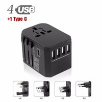 Wholesale euro adapters resale online - USB Type C Travel Power Plug Adapter USB Ports USB Type A Type C Wall Charger for Type I C G A Outlets EU Euro US UK