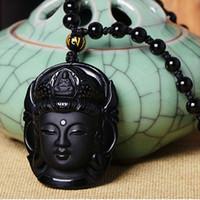 black buddha pendants großhandel-Neue Ankunft Schwarz Stein Obsidian Buddha Anhänger Halskette Glück Amulett Perlen Kette Halskette Für Frau Männer