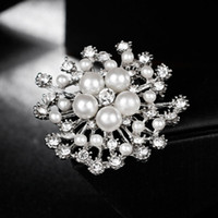 Wholesale jewelry brooch bouquet resale online - Hot Sale New Fashion Bride Wedding Bouquet Pearl Crystal Flower Brooches Pins Corsage Women Birthday Gift Jewelry