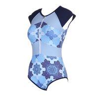 blauer lycra-anzug großhandel-Kostüm da bagno 2018 Blue Print Sexy Frauen Badebekleidung Einteilige Anzüge Strand Tragen Push Up Badeanzug Neue Kurzarm Badeanzug