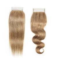 14-дюймовые светлые волосы оптовых-Ash Blonde Lace Closure 4x4 Inch Бразильские прямые человеческие волосы Цвет наращивания # 8 Перуанские индийские малайзийские прямые объемные волны 14 16 дюймов