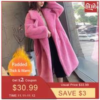 Women's Fur & Faux Philosophy Women Winter Warm Long Coat Sleeve Female Thick Teddy Bear Casual Loose Oversize Outwears