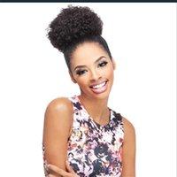 imitacion corea strass al por mayor-Afro Kinky Curly Ponytail 100% cabello humano con cordón de cola de caballo con Clps en para las mujeres brasileñas no remy pelo 1 pieza