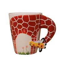 Wholesale painted giraffe for sale - Group buy Eco Friendly d Animal Giraffe Hand Painted Ceramic Coffee Mugs Milk Tea Cups Cute Cartoon Elephant Dolphin Penguin Sika Deer Cups Gift