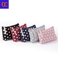 Wholesale free cosmetic bag patterns resale online - Old Cobbler Fashion girl s small cosmetic bag tool tote Zipper bags Dot pattern Coated canvas free delivery