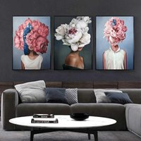 Wholesale single flower paintings for sale - Group buy Flowers Feathers Woman Abstract Canvas Painting Wall Art Print Poster Picture Decorative Painting Living Room Home Decoration