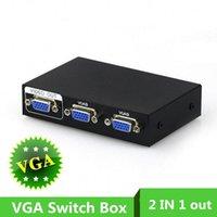 monitoramento remoto do pc venda por atacado-2 Portas 2 em 1 para fora VGA SVGA Monitor Sharing Seletor Sharer Adaptador de Caixa de Comutação Remota para LCD Monitor de TV PC