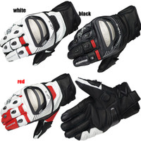 Wholesale komine riding resale online - Leather Full Finger For Komine Gk Motorcycle Gloves Breathable Dry Leather Carbon Fiber d Knight Riding Gloves Size M L XL