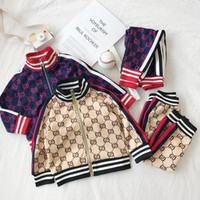 Wholesale chinese baby boy clothing for sale - Group buy Kids Baby Designer Clothes Fashion Casual Sportswear Classic Letter Printed Coat Top Pant Set For Boys Girls Spring Autumn Tracksuits