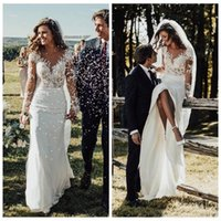 Wholesale long white dress amazing resale online - Sexy Amazing Mermaid Wedding Dresses Modest Long Sleeves Lace Appliques Garden Bridal Gowns Customized Long Robe De Mariee