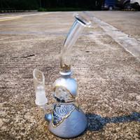 recycling-fabrik großhandel-Fabrik Verkauf 8 Zoll Glas Wasser Recycling Percs Rohr Becher Wasserfilter Shisha Glas Bong 14 mm Joint mit Metallic-Muster Kugel Becher