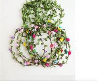 bohem saç takıları toptan satış-Sevimli Bebek Kız Çocuk Bantlar Bohemian Çiçekler Festivali Noel Çiçek Çocuklar Kızlar Için Çelenk Saç Bantları Şapkalar Takı Aksesuarları