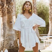 2be40f6663c4c 2019 Bikini White Beach dress Saida de Praia Cotton Beach Cover up Kaftan  Beach Pareos de Playa Mujer Lace Cover-ups Swimsuit