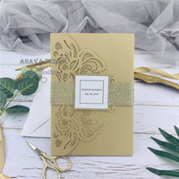 Gold Laser Wedding Invites With Glitter Belly Band +Tag With Initials+ Customized Insert And RSVP card