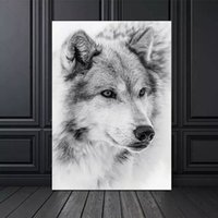 Wholesale canvas painting wolves resale online - Nordic Style Wild Animal Wolf Poster Black and White Canvas Painting Poster and Prints Wall Art Pictures for Living Room Decor