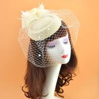 ingrosso velo da sposa netto-Donne Net cappelli avorio rosso nero Birdcage Net cappelli da sposa Fascinator Face Veli Fedora con fiore