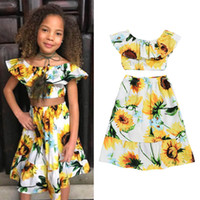 Wholesale baby beach outfits for sale - Group buy Ins new Summer Girl Suit baby Dress Suits Girls Outfits floral Tops Long Skirts beach Kids Sets Fashion baby girl clothes A4848