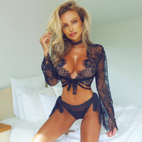 ingrosso donne in camicetta manica lunga-Hot Ladies Sexy Lingerie Intimo Lace Retinatura Prospettiva Hollowed Blouse Sexy Long Sleeve Intimo Donna senza spalline Exposed Breasts