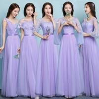 ingrosso abiti da sposa delle sorelle-vendita all'ingrosso viola viola vestito da damigella d'onore sposa sorella abiti da festa di nozze vestido SW180419