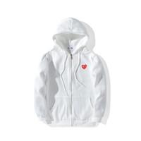 zipper branco cinza hoodie venda por atacado-Outono Inverno Amante Preto Branco Cinza Esporte Hip Hop Camisola Adolescente Ocasional Solto Com Capuz Zipper Hoodies