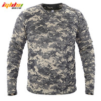 Wholesale quick drying tactical shirts resale online - 2018 New Tactical Camouflage T Shirt Male Breathable Quick Dry US Army Combat Full Sleeve Outwear T shirt for Men S XL
