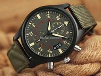 ремень для мужчин оптовых-Лучший бренд роскошные мужские часы IW C пилот серии IW388002 IW389002 кварцевые хронограф зеленый кожаный ремешок мода спорт военные наручные часы