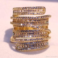 anillos de topacio amarillo oro blanco al por mayor-Victoria Sparkling Luxury Jewelry 925 Sterling Silver Gold Gold Filled Princess Cut White Topaz CZ Diamond Party Women Wedding Band Ring