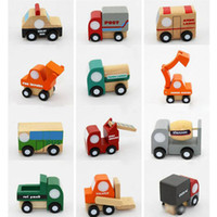 Wholesale toys for children trucks for sale - 12pcs Mini wooden car airplane Educational Soft Montessori wooden toys for children with gift box birthday present for boys