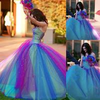 vestido de lantejouas roxas doces 16 venda por atacado-Azul E Roxo Quinceanera Vestidos de Baile Vestidos de Baile Cristal Frisado Lantejoulas Doce 16 Vestidos de Noite Querida vestidos de Quinceanera