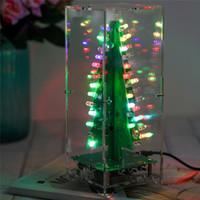kutu süitleri toptan satış-Freeshipping DIY Kiti RGB Flaş LED Devre Kiti Renkli 3D Noel Ağaçları Kiti MP3 Müzik Kutusu ile Kabuk Noel Hediyesi Elektronik Eğlenceli Suite