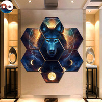 ingrosso dipinti da sogno-Dream Catcher di JoJoes Art 7 Pezzi Lupo Mannaro Stampe su tela Pittura Arte della parete Immagini modulari Quadri decorativi moderni