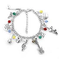 Wholesale music notes resale online - Vintage silver color Music Note Bracelets Women Men Musical Notes Guitar microphone Pendant Bracelet Jewelry Accessories Gifts