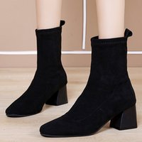 Wholesale botines fashion mujer for sale - Group buy 35 Autumn Fashion Women Flock Suqare Heels Slip On Middle Tube Boot Round Toe Shoes Botines de mujer