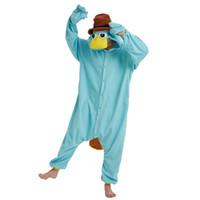 erwachsene fleece-overalls großhandel-Blaues Fleece Unisex Perry das Schnabeltier Kostüm Onesies Monster Cosplay Pyjamas Erwachsene Pyjamas Tier Sleepwear Jumpsuit