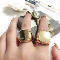 Wholesale flat top rings resale online - 2019 Top brass material paris design ring with flat square decorate for women and girl friend jewelry gift drop shipping PS6491