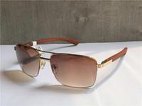 Wholesale wood legs sunglasses resale online - new fashion designer sunglasses T8200859 metal half frame wood legs simple summer popular selling style uv400 outdoor protection eyewear