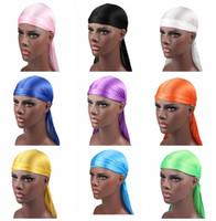 yeni adam perukları toptan satış-2019 Yeni Moda erkek Saten Durags Bandana Türban Peruk Erkekler İpeksi Durag Şapkalar Kafa Korsan Şapka Saç Aksesuarları