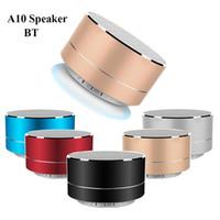 reproducir música de radio al por mayor-A10 Altavoz Bluetooth Inalámbrico Metal Mini Subwoof Portátil de Sonido Con Micrófono Tarjeta TF Radio FM Reproductor de Música AUX MP3 en Paquete de Venta al por menor