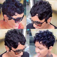 berühmtheit haar perücken verkauf großhandel-Gerade Short Cut Pixie Damen Perücke für Schwarze Frauen Peruanische Jungfrau Cut Hair Perücke Celebrity Perücke