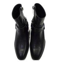 fivelas de inicialização venda por atacado-Cadeias de moda Wyatt motociclista Botas Mens Sapatos de bico fino Fivela Homens Botas de couro de Brown Men Dress Shoes Botas Militares Shoes Men S00