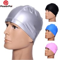 Wholesale long hair bathing caps resale online - PowerPai Unisex Swimming Cap Waterproof PU Women Men Ear Protect Long Hair Swimming Pool Bathing Diving Hood Swim Hat