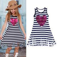 Wholesale child sequin vest for sale - Group buy Baby Girls Striped Sequins Heart Printing Tassel Dress Sleeveless Children Vest Dress Kids Summer Casual Clothes