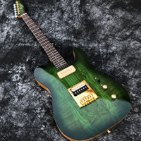 Wholesale guitar electric gold hardware for sale - In Stock ACEPRO Green Spalted Maple Electric guitar w piece Mahogany Abalone dots inlay Gold Hardware White Pearl Tuners
