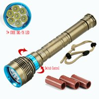 antorcha de buceo usada al por mayor-LED a prueba de agua salto de la linterna 7 XML T6 8000LM táctica de la antorcha subacuática LED de luz de la lámpara de la linterna linterna USO 18650 26650 batería