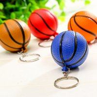 Wholesale sports souvenirs keyring resale online - New Fashion Sports PU Mini Basketball Keychains Plastic Key Ring Football Basketball Golf ball Phone Pendant Keyring Souvenirs LJJZ652