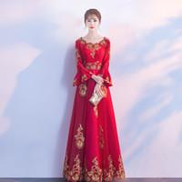 плюс размер красный чеонгам оптовых-Красный кружева вышивка восточный стиль платья китайская невеста старинные традиционные свадебные Cheongsam платье длинные Qipao плюс размер XS-3XL