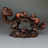 statue de richesse achat en gros de-Souris de souris zodiacales de cuivre pourpre pur chinois sur la statue de RuYi Wealth Yuanbao